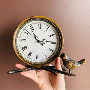 Antique Inspired Faux Brass Bird & Branch Clock